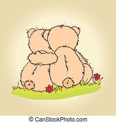테디, 곰, 포옹