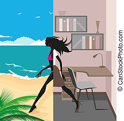 traveling girl - illustration of a graceful girl was leaving...