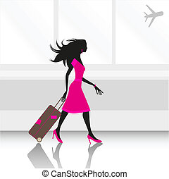 woman at airport - illustration of a young slim woman...