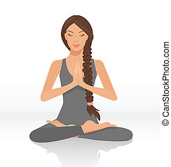 yogi woman - illustration of a beautiful woman sitting in...