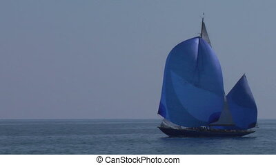 old sail 06 - Old sailing boat in Mediterranean Sea during a...