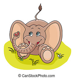 Baby Elephant - Illustration of cute Baby Elephant playing...