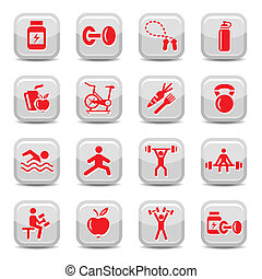 bodybuilding and fitness icons set - Vector Bodybuilding And...