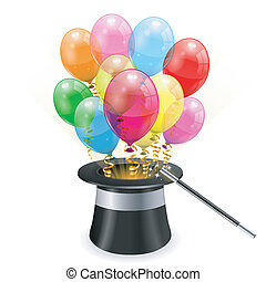 Birthday Concept - Magician Hat with 3D Transparent Birthday...