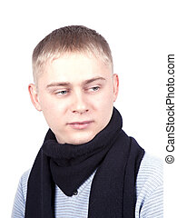 young man in a blue sweater and a black scarf