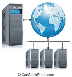Network Concept - Servers with LCD Display, Workstation and...