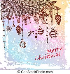 christmas fur tree - Hand Drawn Christmas Fur Tree With...