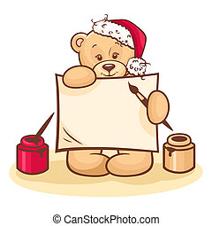 christmas teddy with sign