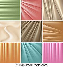 Set of 9 satin backgrounds. Vector illustration.