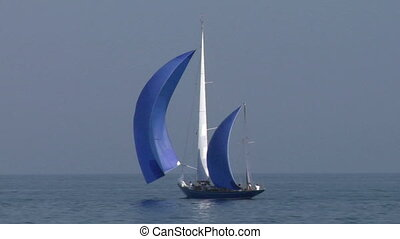 old sail 07 - Old sailing boat in Mediterranean Sea during a...