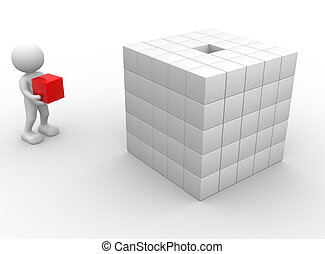 Cubes - 3d people - man, person with cubes