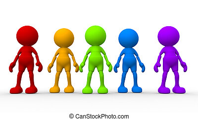 Group - 3d people - men, person in group. Teamwork
