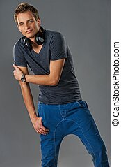 Stylish young man with headphones