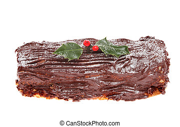 Yule log - Chocolate yule log decorated with holly isolated...