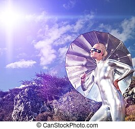 Cyber woman in the mountains