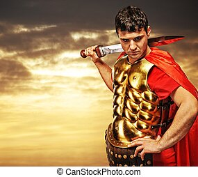 Roman legionary soldier against cloudy sky