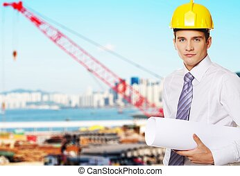 View to the city port - Young handsome builder
