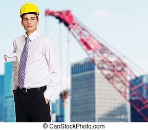 Buildings under construction - Young handsome builder