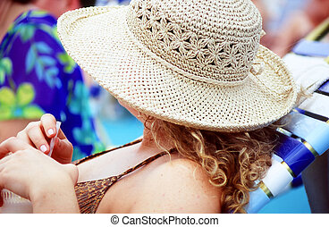 Cruise vacation. - Female relaxing on a cruise ship travel...