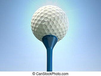 Golf Ball On Tee Close - An closeup upward view of a regular...