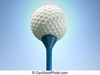 Golf Ball On Tee Close - An closeup upward view of a regular...