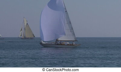 old sail 09 - Old sailing boat in Mediterranean Sea during a...