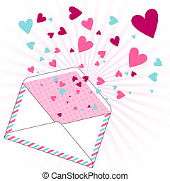 Background with hearts flying out of the envelope.