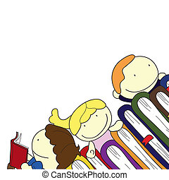 children with books - children on top of a pile of books...