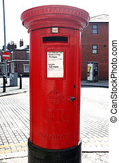 Traditional British Red Post Box on a London St
