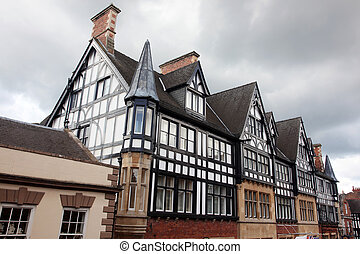 Black and white Tudor style buildings in Chester UK