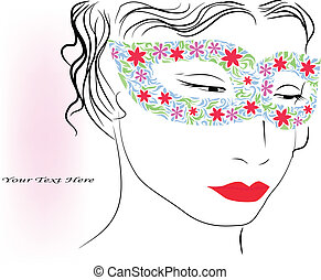 woman in colorful mask - vector illustration of woman in...