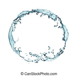Water Ring - Abstract blue splashing water as ring on white...