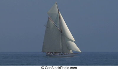 old sail 11 - Old sailing boat in Mediterranean Sea during a...