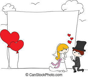 wedding couple with background and balloons heart