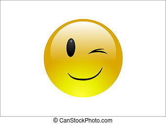 Aqua Emoticons - Wink - A glossy, yellow emoticon winking