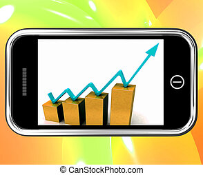 Arrow On Chart On Smartphone Shows Increase