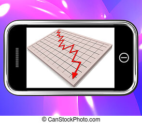 Arrow Falling On Smartphone Shows Financial Crisis