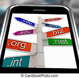 Domains On Smartphone Shows Internet Websites And...