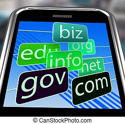 Domains On Smartphone Shows Mobile Internet Access