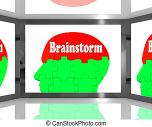 Brainstorm On Brain On Screen Showing Group Of Words