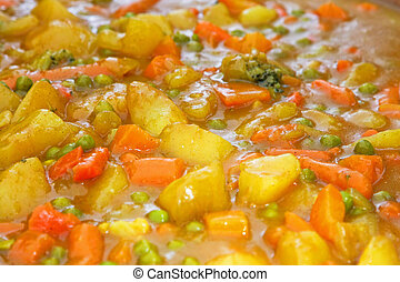 Vegetable stew with potato carrots and beans