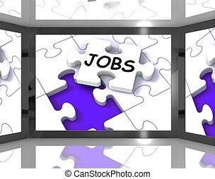 Jobs On Screen Showing Job Recruitment And Careers