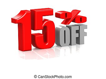 15 percent off - Rendered artwork with white background