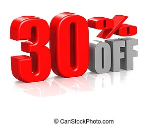 30 percent off - Rendered artwork with white background