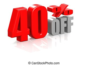 40 percent off - Rendered artwork with white background