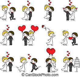 love couple with hearts - 12 sets wedding love couple with...