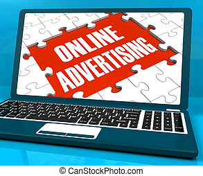 Online Advertising On Laptop Shows Websites Promotions