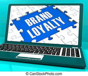 Brand Loyalty On Laptop Showing Successful Branding And...