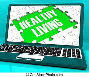 Healthy Living On Laptop Shows Wellbeing And Healthy...