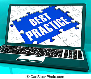 Best Practice On Laptop Showing Successful Practices And...